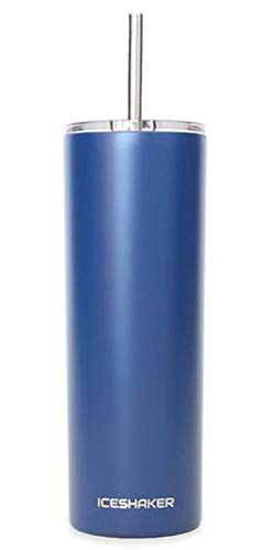 Ice Shaker 20 oz Stainless Steel Tumbler (Navy)- Skinny Tumbler Insulated Water Bottle With Straw - Vacuum Insulated Tumbler For Hot and Cold Beverages - Tumbler With Lid Holds Ice - Water Glass Skinny Bottle
