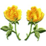 Yellow roses pair flowers floral retro boho hippie embroidered appliques iron-ons - Cartoon Ons Iron