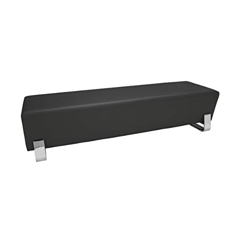 OFM Axis Series Contemporary Triple Seating Bench, Textured Vinyl with Chrome Base, in Midnight (4003C-MDN)