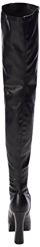 Pleaser ELECTRA-3000Z, Damen Over-Knee Stiefel, Schwarz (Schwarz (Blk Str Faux Leather/Blk Matte)), 45 EU (12 Damen UK)
