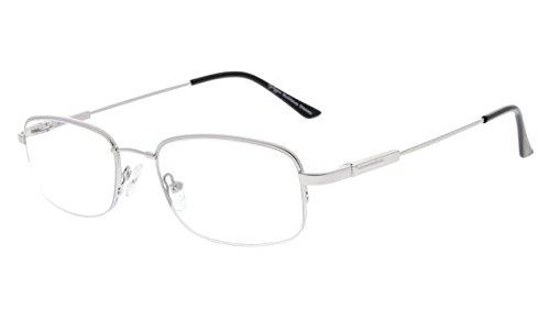 - Eyekepper Half-Rim UV Protection Progressive Reading Glasses 3 Levels Multifocus Readers Men Women Bendable Memory Frame (Silver, 1.50)