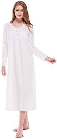Keyocean Nightgowns for Women 100% Cotton Soft Warm Comfy Women Sleepwear Lounge-wear for fall wintry weather