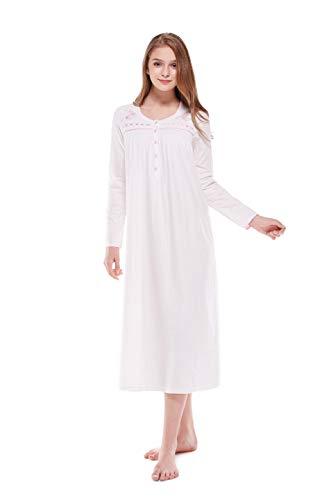 Keyocean Women Nightgown 100% Cotton Embroidered Printing Long Sleeve Long Nightgown Sleepwear, Cream, Large