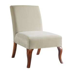 Bailey Street 6091938 Buck - Slipper Chair Cover, Natural Wood Finish with Cream Fabric Shade (Slipper Chair Covers compare prices)