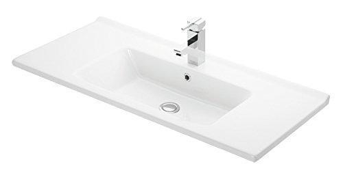 VE.CA. Lavabo ad incasso Etna 100 in ceramica bianca di alta qualità - arredo bagno mensola lavabo casa