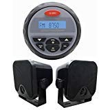 "Marine Radio MP3 USB Bluetooth 2 Way Stereo+2pcs 4"" black speakers for UTV"