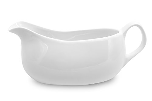 Nucookery Large 14 Oz Gravy Boat With Ergonomic Handle | White Fine Porcelain Saucier With Big Dripless Lip Spout | For Gravy, Warming Sauces, Salad Dressings, Milk, More | Microwave & Freezer Safe by Nucookery (Image #1)