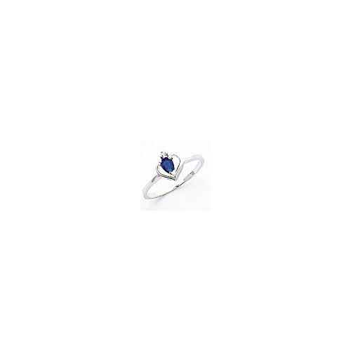 Jewelry Adviser Rings 14k White Gold 5x3mm Pear Sapphire AA Diamond ring Diamond quality AA (I1 clarity, G-I color) ()