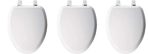 Church 1400TTC 000 Elongated Wood Toilet Seat with Cover, White (3-(Pack))