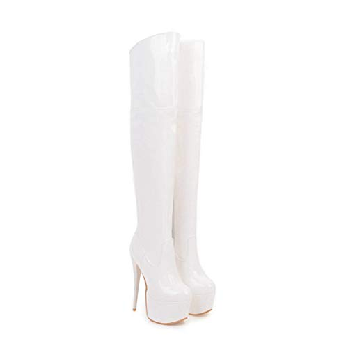 ODOKAY Women Sexy Super Thin High Heel Boots Fashion Platform Over The Knee Thigh Boots Patent Leather ()