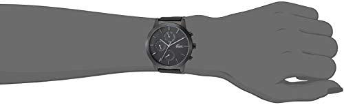 Lacoste Black pvd Quartz Watch with Leather Strap, 19 (Model: 2010997) 2