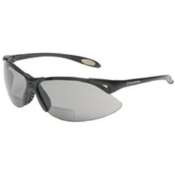 Safety Glasses, Bi-Focal Readers, +1.50, Sporty Black Frame, Wraparound TSR Gray Hardcoat Lens Tools Equipment Hand Tools