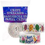 Happy Birthday Streamer (Pack of 2: Crepe Paper Streamer, Each Roll 90 Feet Long, 1 7/8