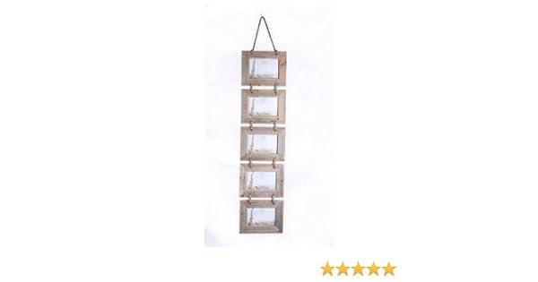 Cinco rústico marco de fotos de madera para colgar en cuerda - para fotos 5 x 6 x 10,16 cm: Amazon.es: Hogar