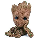Baby Groot Flowerpot with Water Beads, The Guardians of Galaxy Flower Pots Cute Baby Action Figures Model Toy Pen Pencil Holder PVC Planter (Gnome Bead)