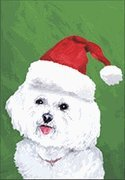 Bichon Frise Santa Hat Dog Breed Flag 28