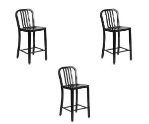 Flash Furniture 24'' High Metal Indoor-Outdoor Counter Height Stool with Vertical Slat Back, (3 Pack, 24'' High, - High Slat