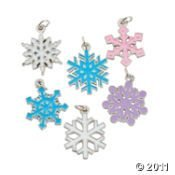 Fabfuncrafts Snowflakes Enamel Charms (Set 6)