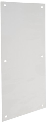 Rockwood 70E.28 Aluminum Standard Push Plate, Four Beveled Edges, 16'' Height x 6'' Width x 0.050'' Thick, Clear Anodized Finish by Rockwood