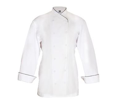 Chef Revival LJ008 Chef-tex Poly Cotton Ladies Corporate Jacket with Black Piping and Cloth Covered Button, Small, White by Chef Revival