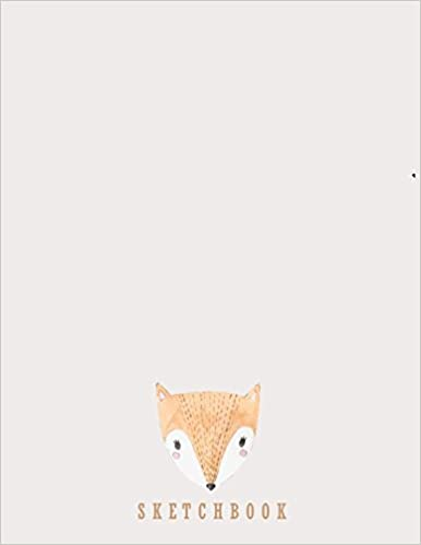 Blank Unlined Paper for Sketching Sketchbook: Cute fox on grey cover 8.5 x 11 Whiting Journaling /& Doodling  pink c inches 110 pages Drawing