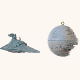 The Death Star and Star Destroyer Star Wars: Return of the Jedi 2008 Hallmark Keepsake Miniature Ornament set - Miniature Destroyer