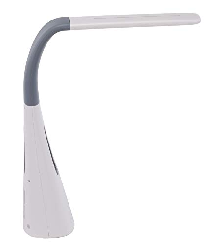 PureOptics LED Desk Lamp with Bladeless Fan, Dimmable, Adjustable Neck, Gray (VLED1603LM)