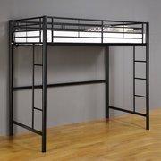 Twin Premium Metal Loft Bed ~ Black ~ College Dorm (Metal Dorm Loft Beds)