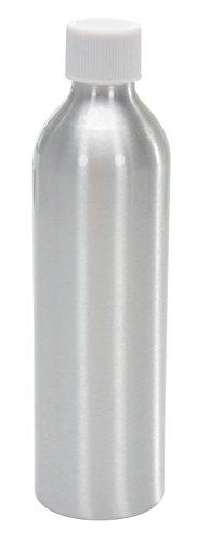 Vestil BTL-MA-8 Aluminum Round Metal Bottle with White Threaded Cap, 8 oz Capacity, Silver by Vestil