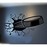 2016 NEW Sports Hockey Puck Bursting Through Wall Decal Living Room Dids Room Decor Vinyl Carving Wall Decal Sticker for Home Decoration