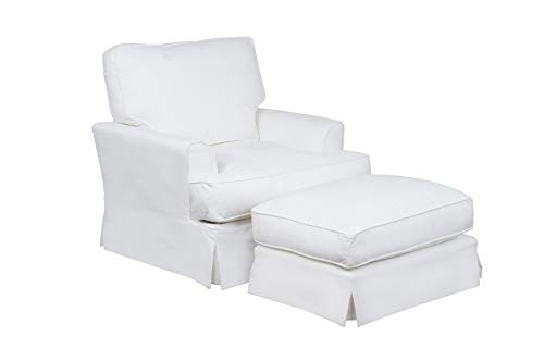 Sunset Trading Ariana Chair and Ottoman, White (Me Ottoman Near)