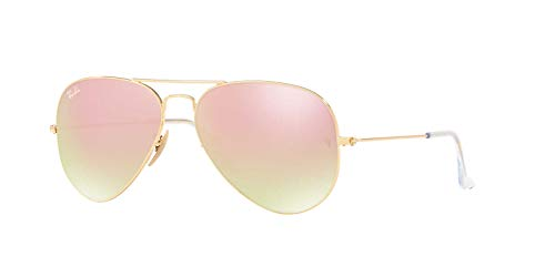 Ray-Ban Man Sunglasses, Gold Lenses Metal Frame, 58mm (Pink Ray Ban Aviators)