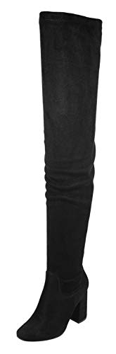 Nature Breeze Elantra 01 Womens Stretchy Thigh High Chunky Heel Suede Boots,Black Suede,8
