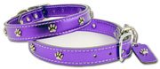 - OmniPet Signature Leather Dog Collar with Paw Ornaments, Metallic Purple, 14