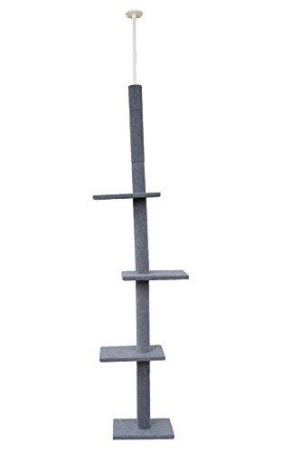 (Cat Craft 12400301GRCOM Three Tier Floor-to-Ceiling Cat Tree, Grey)