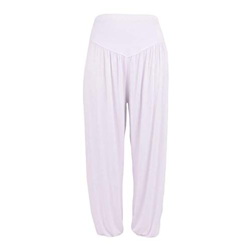 iYBUIA Womens Solid Elastic Loose Casual Modal Cotton Soft Yoga Sports Dance Harem Pants(White,S) -