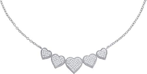 Aienid 10Kt Yellow Gold 0.35Ct Diamond Heart Necklace for Women