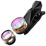 SEHOO Cell Phone Lens, 3 in 1 Clip-On iPhone Lens Kit, 180 Degree Supreme Fisheye, 0.67X Wide Angle Lenses with 10X Macro Lens for Samsung Android Smartphones iPhone