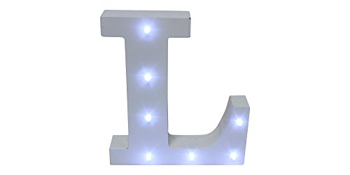 Royal Brands Decorative DIY LED Letter Light Sign - Light Up Wooden Alphabet Letter Battery Operated Party Wedding Marquee Décor - White -