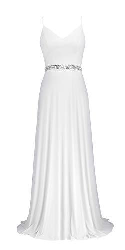 conail Coco Women's V-Neckline Spaghetti Straps Beaded Criss-Cross Open Back Tulle Evening Prom Formal Dress (White189, Large) ()