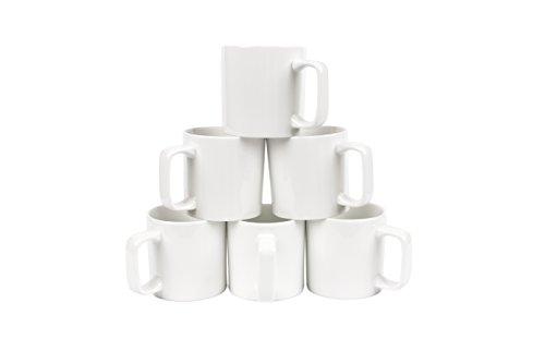 Jumbo White Ceramic Mug (Oxford Gourmet Large Mugs (Set of 6), White)