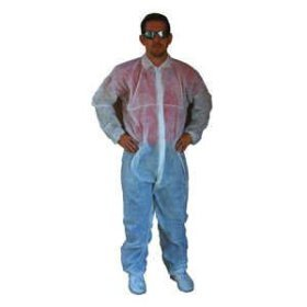 Disposable Poly Coveralls Plastic Suit-- Large