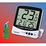 Digital Jumbo Display Thermometer with Bottle Probe and Certificate of Accuracy for Freezers, Refrigerators, Incubators and Water Baths With MIN/MAX
