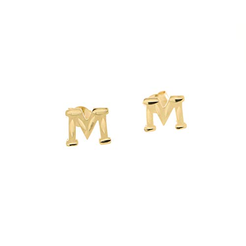 Diamond Initial Cut Letter (14k Yellow Gold Small Diamond Cut Initial Stud Earrings - M)