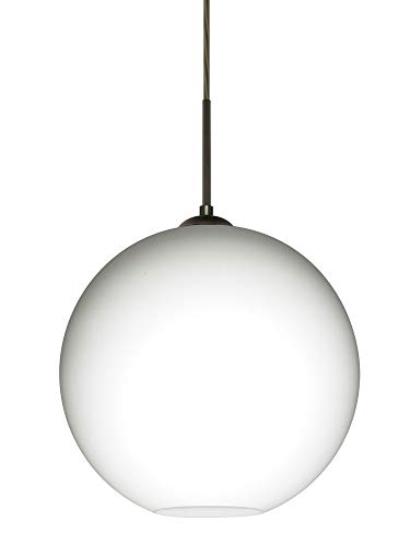 Besa Lighting 1JT-COCO1407-BR Coco 14 - One Light Cord Pendant, Bronze Finish with Opal Matte Glass