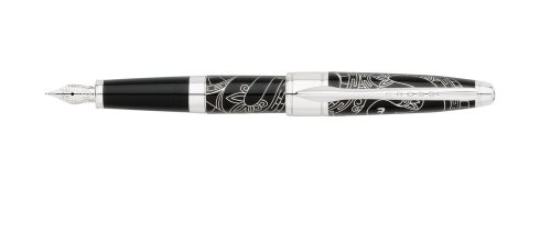 Cross 2013 Year Of The Snake Special Edition Collection Fountain Pen with Rhodium Plated Solid 18 Karat Gold Nib - Medium, China Black Lacquer (AT0126-14MY)