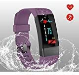 Fitness Tracker Heart Rate Monitor Step Color Screen Activity, IP67 Waterproof Smart Wristband purple, Metal sheet sensor,Calorie Counter Watch Pedometer Sleep Monitor,Compatible with iOS and Android