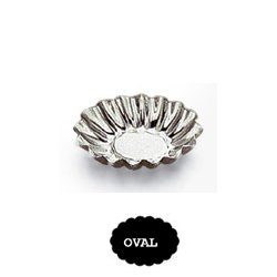 Gobel Petit Four Mold Fluted Oval Heavy Tinned Steel 1-7/8