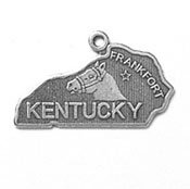 0.625' Sterling Silver Charm - Sterling Silver Kentucky State Charm with Split Ring