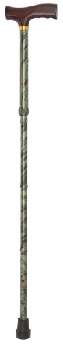 Duro-Med Adjustable Folding Fancy Cane with Derby Top Wood Handle and Rubber Tips, Green Cyclone